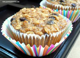 "Joyously Domestic: Peanut Butter, Banana and Chocolate Chip Oatmeal ""Muffins"""