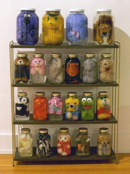 If you put random pieces of the stuffed toys in the jars