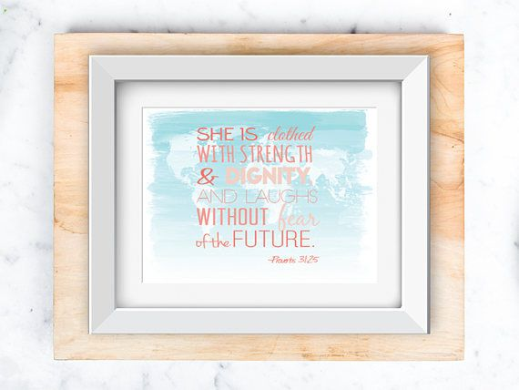 Proverbs 31:26 on world map Wall Art printable 8x10 and 5x7