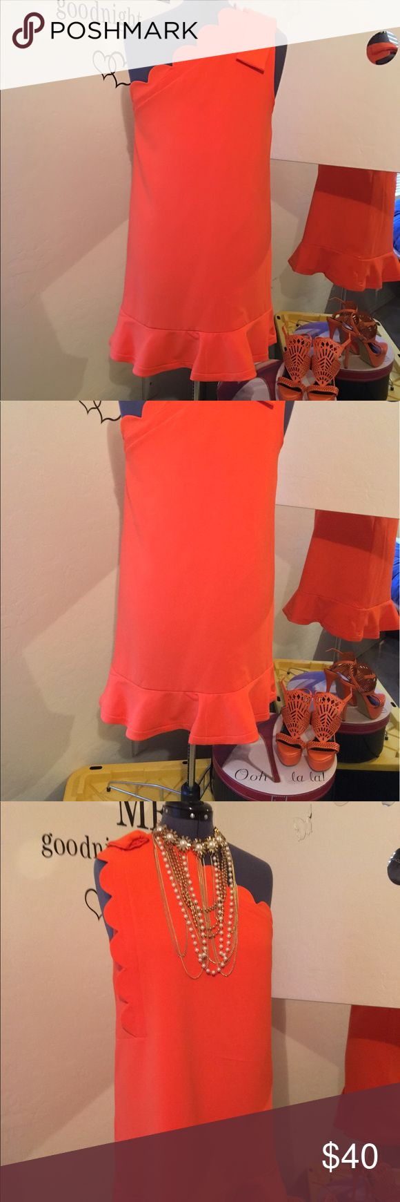 Victoria Beckham design Target Bright orange dress Beautiful bright orange off shoulder fully lined dress. Great summer or fall dress. Great material.  I have paired with orang platform shoes for a great look .  Bundle size 6 shoes get 10% off whole outfit Victoria Beckham for Target Dresses Midi
