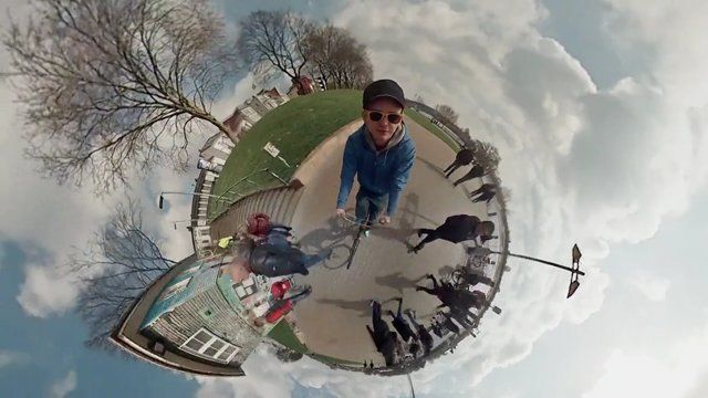First attempt to create a 360° spherical panorama video using 6 GoPro Cameras in 3D printed mount. And it works! :)  More Information here: http://www.jonasginter.de/360-grad-video-mit-6-gopro-kameras/  music: The Custodian of Records http://freemusicarchive.org/music/The_Custodian_of_Records/She_Hate_Me/Your_Blogs_in_my_business  Copyright: Attribution-Noncommercial-Share Alike 3.0 United States: http://creativecommons.org/licenses/by-nc-sa/3.0/us/