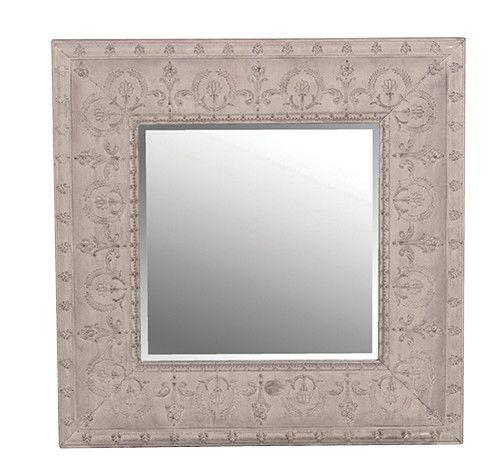 Square Grey Metal Mirror