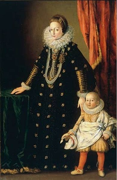 Portrait of Queen Constance of Poland and Gr. Duchss of Lithuania, with son  future John Casimir II Vasa of Poland, unknown Polish painter, c. 1612.  Constance was the 2x great granddaughter of Maximilian I, Mary of Burgundy, Ferdinand and Isabella of Spain.