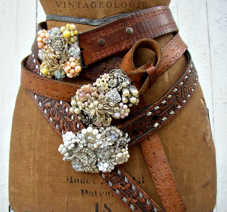 Bling Belt Buckles - another cute way to repurpose vintage jewelry