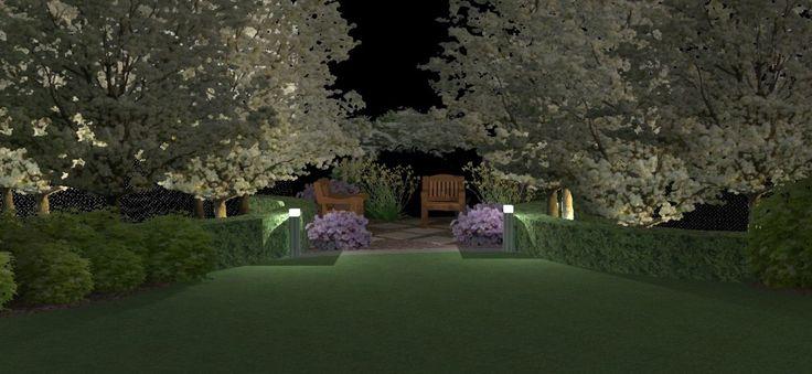 Ogród w osiedlu domów jednorodzinnych.