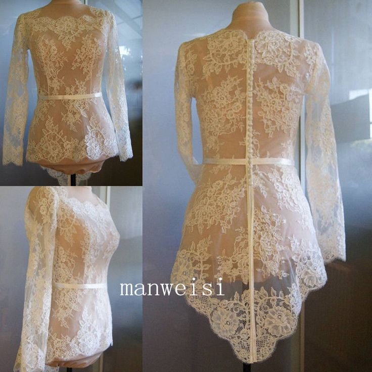 White ivory wedding jacket long sleeves lace applique for Wedding dress long sleeve lace jacket