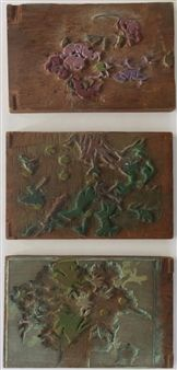 """3 Double Sided Printing Blocks for """"Petunias by Margaret Jordan Patterson Dimensions 7 1/2 x 11 3/4 in Medium: Watercolor on woodblocks Realized Price Not Sold Estimate 3,000 - 5,000 USD Condition: Very good condition Lot number 61 BAKKER AUCTIONS OCT. 29, 2016 View lot at invaluable.com"""