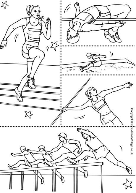 Athletics collage colouring page