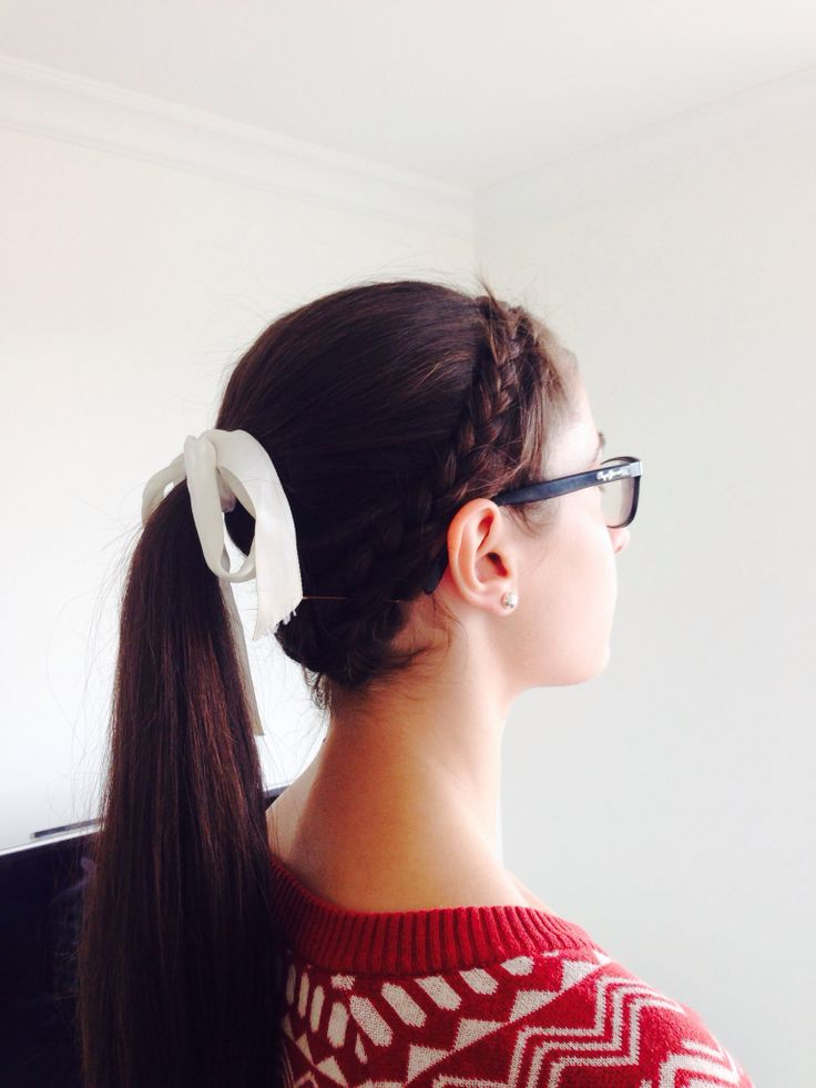 Ponytail with braided crown accent