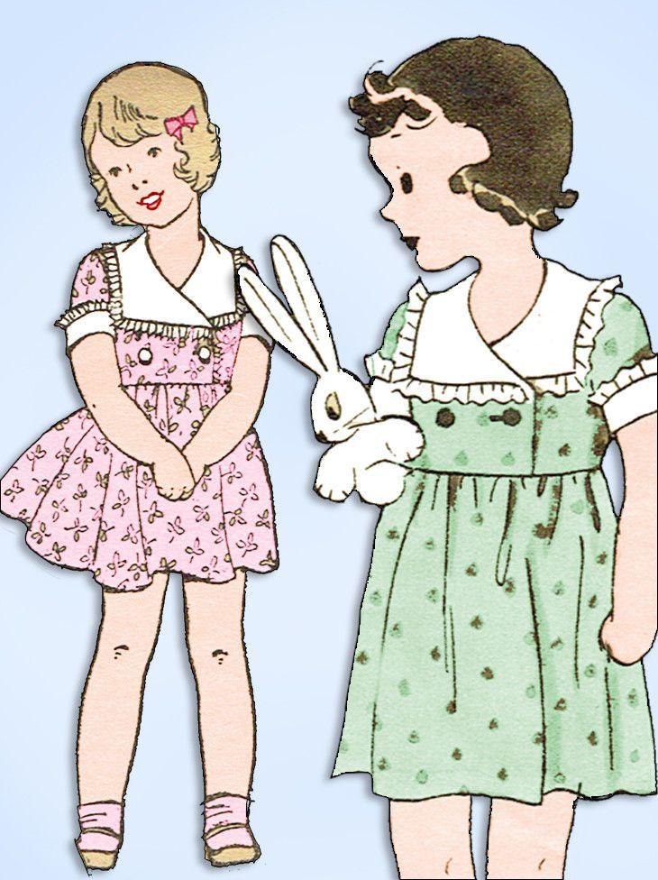 5348bcb90 1930s Original Vintage Excella Pattern 3449 Uncut Toddler Girls ...