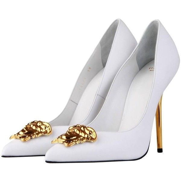 Versace Palazzo White Leather Pump ❤ liked on Polyvore featuring shoes, pumps, white shoes, versace, leather footwear, real leather shoes and white leather pumps