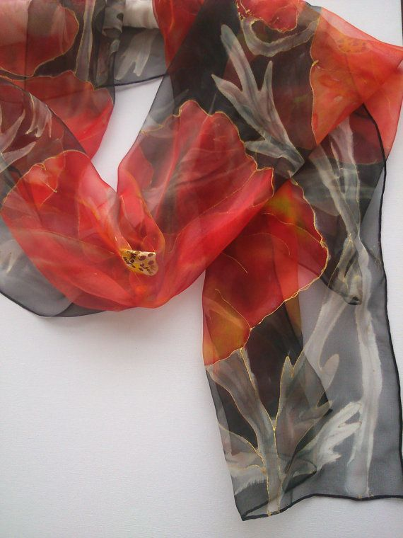 Poppies on  Black Chiffon Scarf Hand Painted. by SilkLetters, $59.00