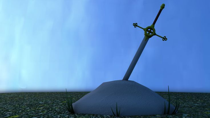 A sword. In a rock. Made in 3D. Typical.