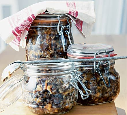 Boozy mincemeat  |  natural demerara sugar = light brown sugar  |  muscovado sugar = dark brown sugar.  Add a little more liquid...