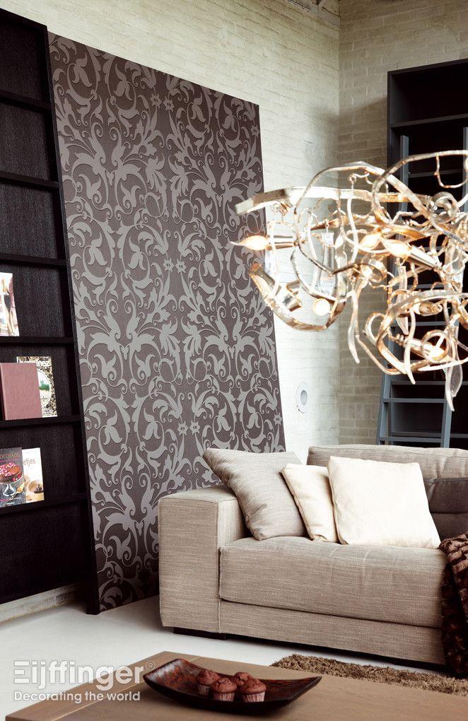 Eijffinger behang zircon bruin grijs 317042 behang paneel woonstijl modern design - Gordijnen landelijke stijl chique ...