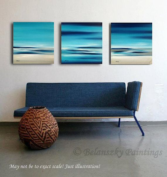 """Triptych - Original abstract landscape oil paintings on canvas, turquoise, blue, gray, white - 3 x 15,7"""" x 15,7"""""""