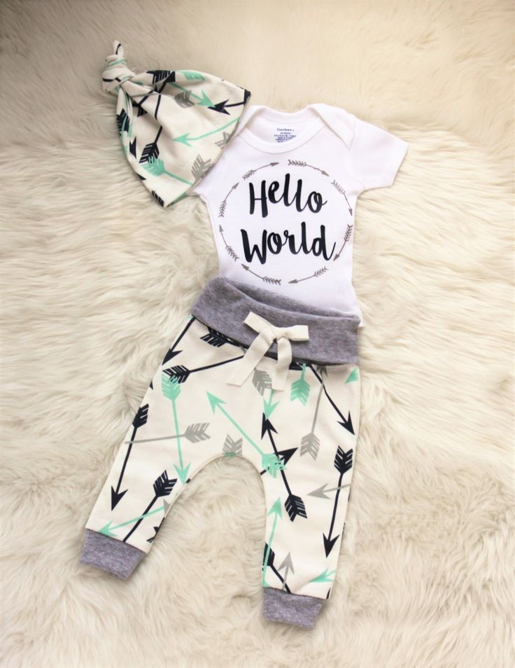 baby boy coming home outfit/hello world outfit/ arrow shirt/arrow leggings/baby leggings/baby girl/gender neutral outfit by…