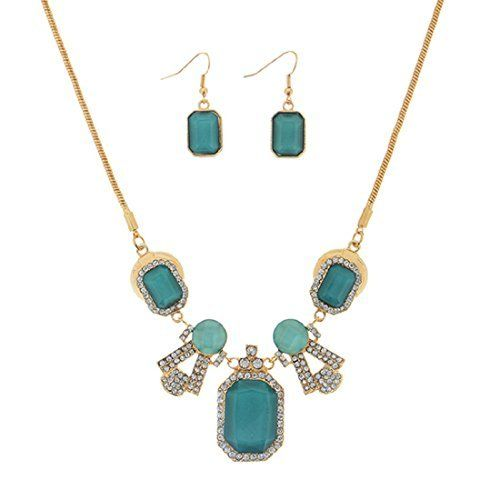 Gold Tone Snake Chain Necklace Featuring a Teal Tone Sandstone Focal and Matching Earrings  Price : $19.99 http://www.janddjewelryandmore.com/Necklace-Featuring-Sandstone-Matching-Earrings/dp/B00PMU4CZ2