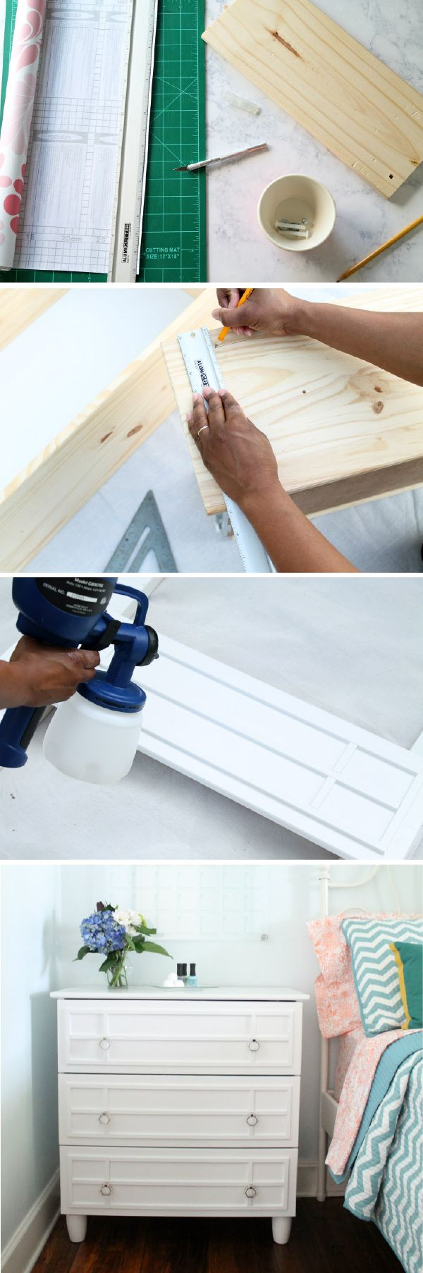 Breathe new life into a small unfinished dresser by adding moulding and some brand new modern hardware. This DIY home decor tutorial will show you just how to create this gorgeous piece of furniture for your bedroom. All you need is some moulding, white paint, and a bit of elbow grease.