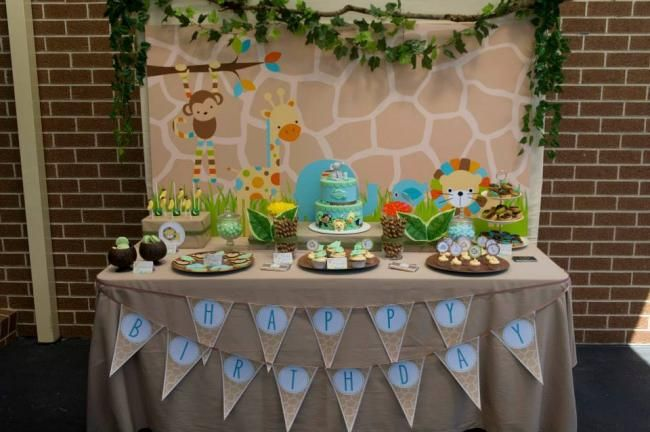 Boys First Birthday Jungle Themed Birthday Party