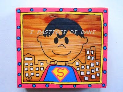 quadretti in legno dipinti a mano con Superman e batman, perfetti per la camera di un bambino