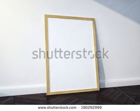 wood frame in interior - stock photo