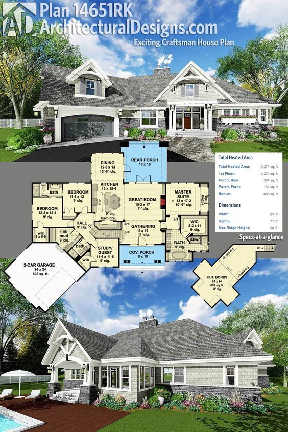 Architectural Designs Craftsman House Plan 14651RK has a dynamic exterior with beautiful detailing, an an angled garage with a bonus room above and over 2,300 square feet of heated living space (not including the bonus room which adds another 600+ square feet). Ready when you are. Where do YOU want to build?