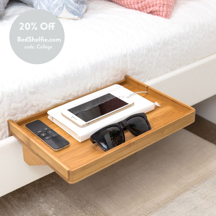 BedShelfie - Bed Shelf / Space Saving small nightstand / bedside organization caddy tray table / for small bedrooms, lofted beds, bunk beds, college dorms
