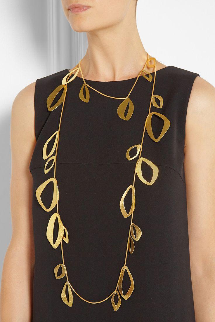 Hervé Van der Straeten | Hammered gold-plated necklace | NET-A-PORTER.COM
