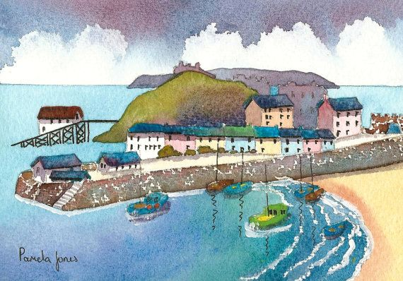 Original Watercolour Tenby Harbour by Pamelajonesartstudio on Etsy, £20.00