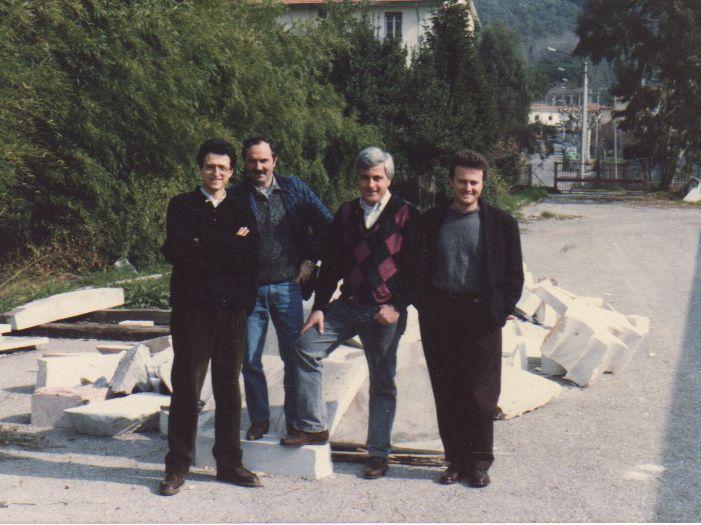 """Insegnanti di Laboratorio sez. Decorazione plastica, fine anni '80. Istituto statale d'arte """"Stagio Stagi"""" Pietrasanta."""