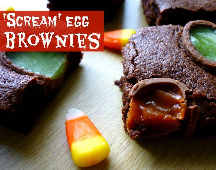 Scream egg Halloween brownies | My sugarcoated life | Pinterest