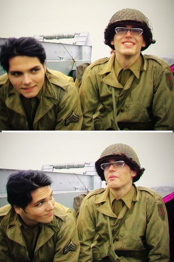 They're both gorgeous... BUT LOOK AT GERARDS CHEEKY SMILE OMFG IM IN LOVE... He's older than my mum but WHO CARES
