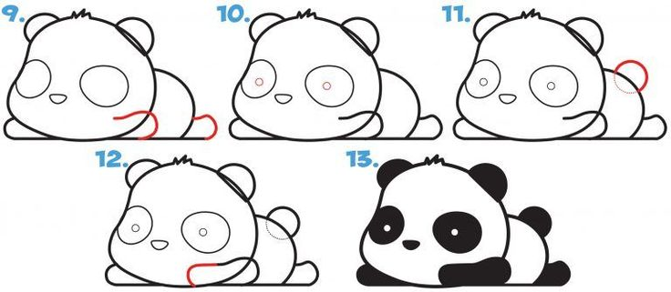 How to Draw a Super Cute Kawaii Panda Bear Laying Down
