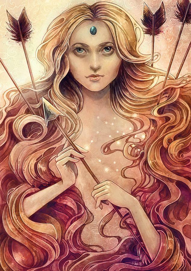 Zodiac Stagittarius, fantasy portrait by Strijkdesign.     horoscope cards