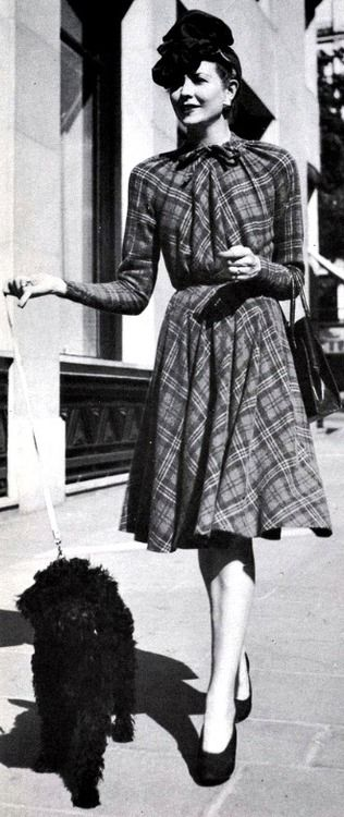 Jacques Fath dress & fluffy pup, 1942.
