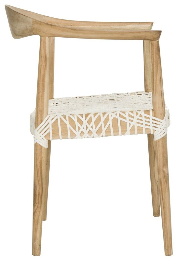 Bandelier leather weave arm accent chair white natural
