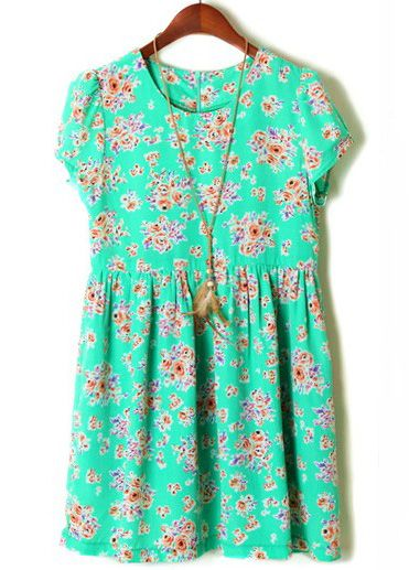 Green Puff Sleeve Floral Pleated Loose Dress - Sheinside.com