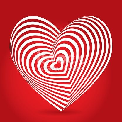 white heart on red background. Optical illusion of 3D three-dimensional volume. vector