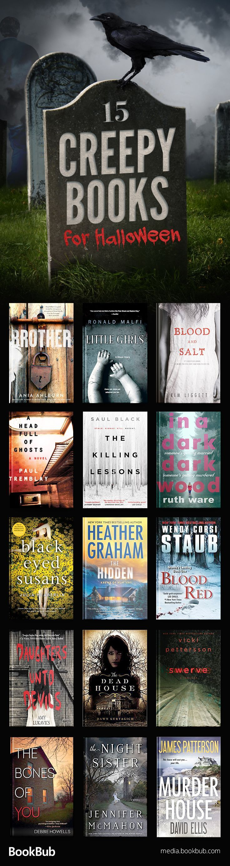 15 creepy books to read for Halloween. Including suspenseful thrillers, mystery books, twisty books, and more.