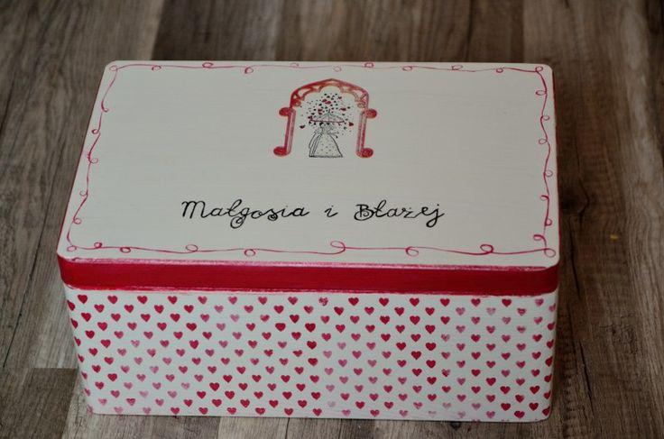 Sercowy deszcz - pudełko na kartki ślubne i koperty.  Do kupienia w sklepie Madame Allure!  #pudełkonakartki #ślub #wesele