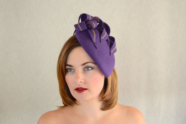 Purple Felt Teardrop Pillbox Hat Fascinator - Purple and Gold Fascinator - Purple Cocktail Hat by RUBINAMillinery on Etsy https://www.etsy.com/listing/205920543/purple-felt-teardrop-pillbox-hat