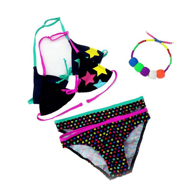 2016 새로운 여름 수영복 여자 분할 두 조각 수영복, 어린이 귀여운 스타 패턴 분할 비키니 소녀 수영복 도매