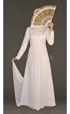 A-line Lace And Chiffon Muslim Wedding Dress(FWD1256)