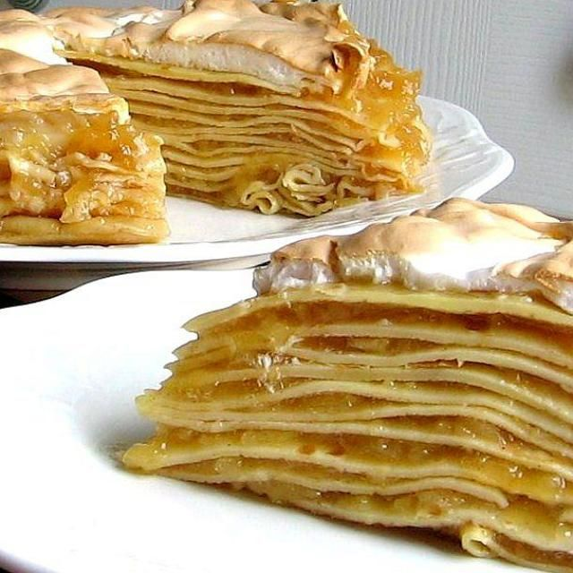 This Hungarian recipe for apple meringue pancake torte is made with thin crepe-like pancakes stacked on top of each other, filled with apples and topped with meringue.
