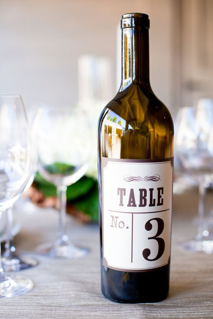 #TableNumbers - Wine Bottle Label | On Style Me Pretty: http://www.stylemepretty.com/2012/12/05/st-helena-ca-wedding-from-alison-events-stacey-pentland-photography/ Stacey Pentland Photography