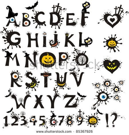 Decorative scary style alphabet, Halloween theme font