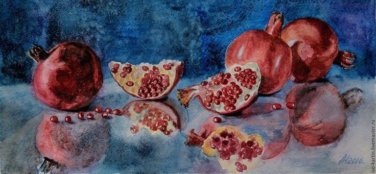 Купить Картина акварелью. Гранатовая россыпь - ярко-красный, гранат, натюрморт с гранатом, натюрморт с фруктами