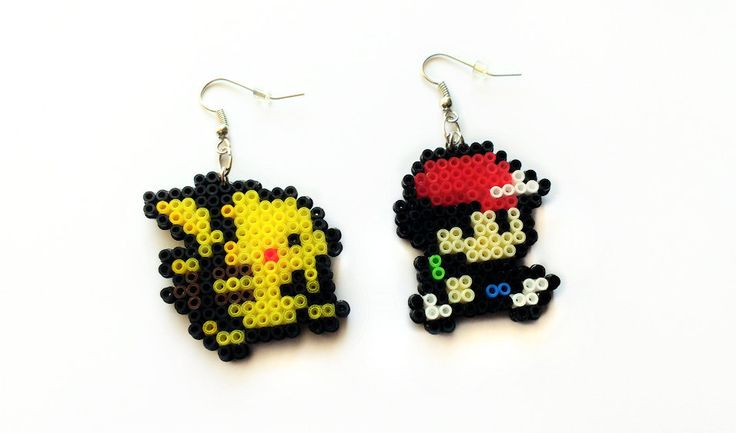 Pikachu & Ash Earrings - Mini Beads, Pokemon Jewelry by 8BitEarrings on Etsy