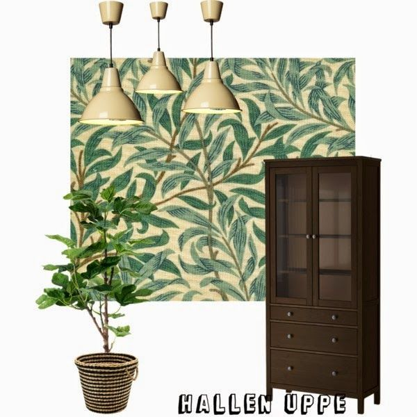 inspiration till hall uppe med William Morris undebara tapet willow bough